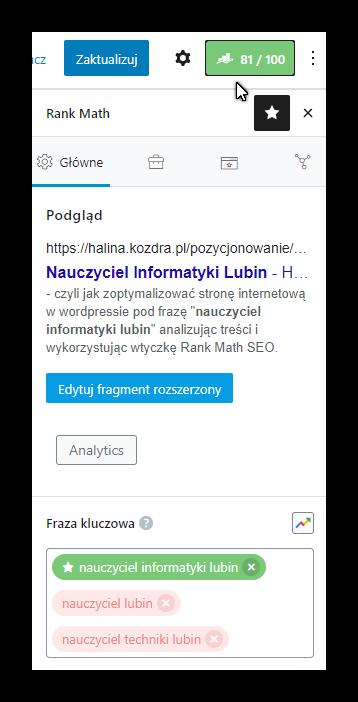 Nauczyciel Informatyki Lubin jako fraza kluczowa w optymalizacji strony
