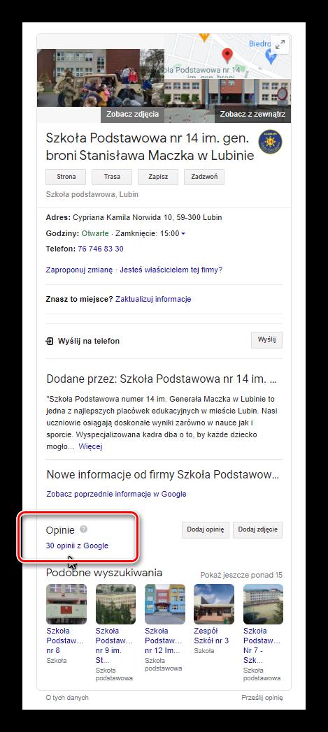 Szkoły podstawowe w Lubinie i opinie Google